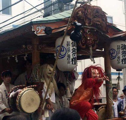 日野八坂神社前に出ていた祭囃子