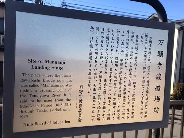 万願寺渡船場跡の案内板(日野側)