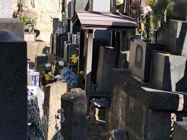 屋根がついているのが沖田総司の墓