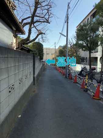 路地の奥、低い塀の向こうに墓地(入れません)