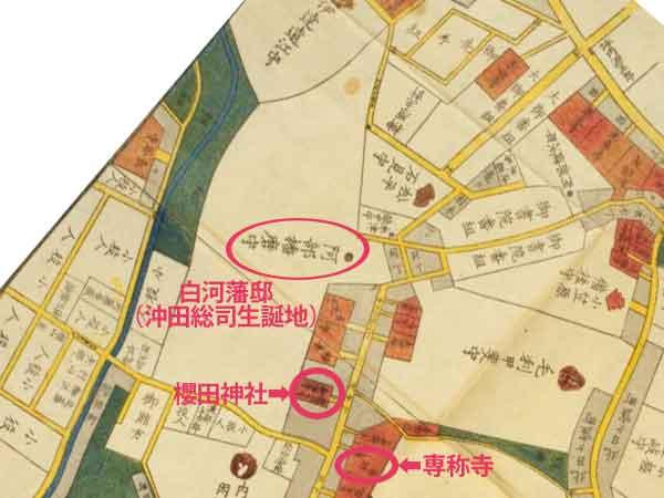 白河藩下屋敷の場所(江戸切絵図)
