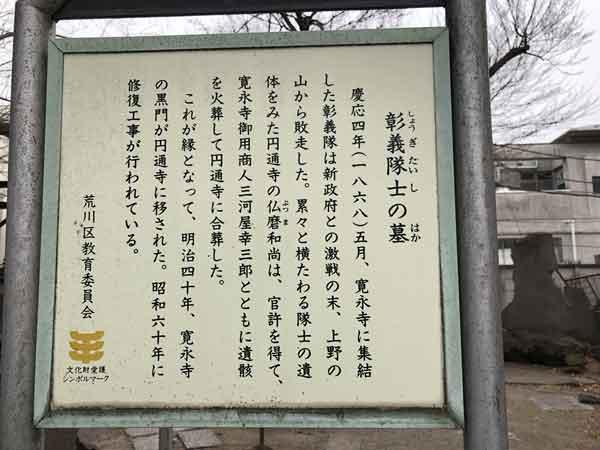 彰義隊士の墓の案内板