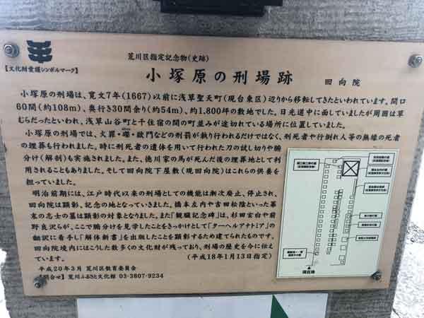 小塚原刑場跡の案内板