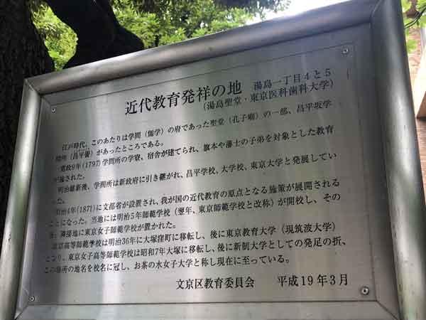 昌平坂学問所跡の案内板