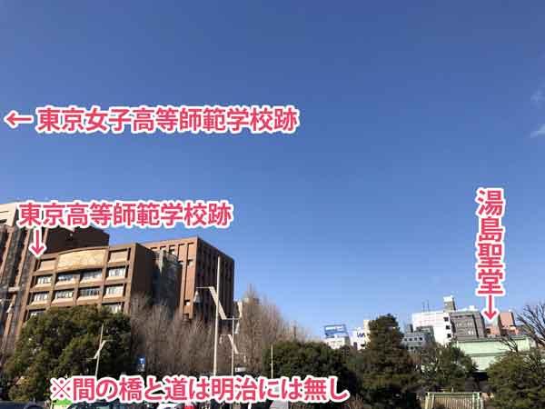 湯島聖堂と東京高等師範学校などの位置関係